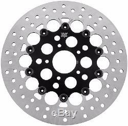 Holes Black Stainless Steel Floating Front 11.5 Disc Brake Rotor Harley Davidson