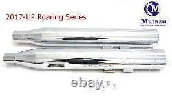 MUTAZU 4 MF-13N-CC Chrome Slip-On Mufflers Exhaust for 17-up Harley Touring
