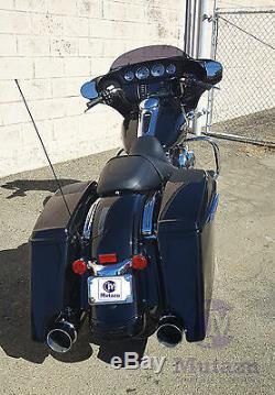 MUTAZU Chrome MF-31 Megaphone Slip-On Mufflers Exhaust 95-16 Harley Touring 4