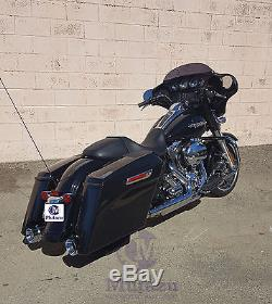 MUTAZU Fluted cut Black Megaphone Slip-On Mufflers Exhaust 17-up Harley Touring