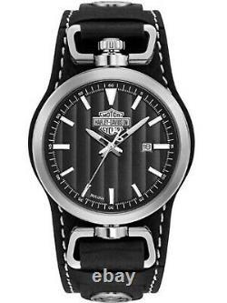 Men's Harley Davidson Bar & Shield Leather Watch 76B185
