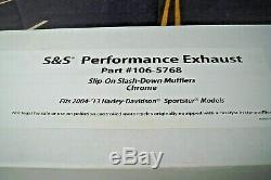 Mufflers Harley Sportster Chrome Slash Down Performance S&S Cycle 106-5768 X1