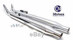 Mutazu 36 Chrome Fish tail Exhaust Slip On Mufflers 95-16 Harley Touring Bagger