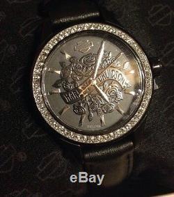 NIB Unisex Womens Harley Davidson Watch Bulova Rare 50 M Water Res Crystal Bling