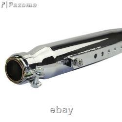 Pair Chrome Shortly Tapered Silencer Exhaust Muffler Vent Pipe For Harley Bobber