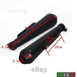 Pair Steel Exhaust Muffler Reverse Cone Megaphone For Harley Cafe Racer Bobber