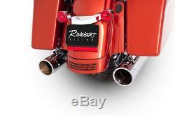 Rinehart Chrome Exhaust 4 Slip On Mufflers with Chrome Tips Harley FLH/T 2017