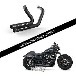 SLIP ON PIPE MUFFLER EXHAUST FIT for Harley 2014 2019 XL883C X48 V72 IRON 883 M1