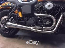 Sawicki Speed Shop Brushed Stainless Steel 2 Into 1 Exhaust Pipe Harley Dyna FXD
