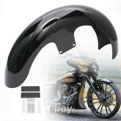 Steel 21 Wrap Vivid Black Front Fender Mudguard For Harley Touring FLHT Baggers