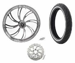 Ultima Polished Billet 21 3.5 Vortex Front Wheel Rim Tire Package WWW Harley SD