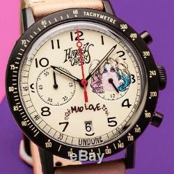 Undone Harley Hybrid Quartz Mechanic Chronograph Steel Pink Leather Women Watch