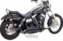 Vance & Hines Black Big Radius 2 Into 2 Full Exhaust For Harley Dyna 2012-2017