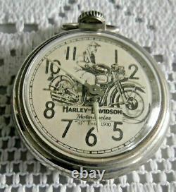 Vintage Pocket Watch 1930 Harley-Davidson Vintage 45 Motorcycle Working Order